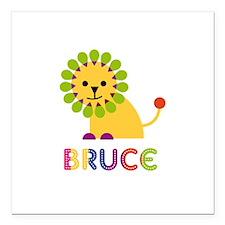 "Bruce Loves Lions Square Car Magnet 3"" x 3"""