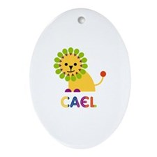 Cael Loves Lions Ornament (Oval)