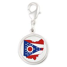 Ohio Flag Silver Round Charm