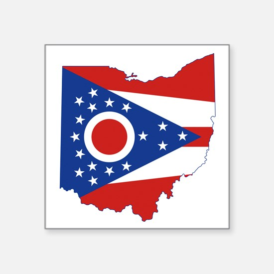 "Ohio Flag Square Sticker 3"" x 3"""