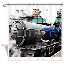 Vintage steam train & bridge Shower Curtain
