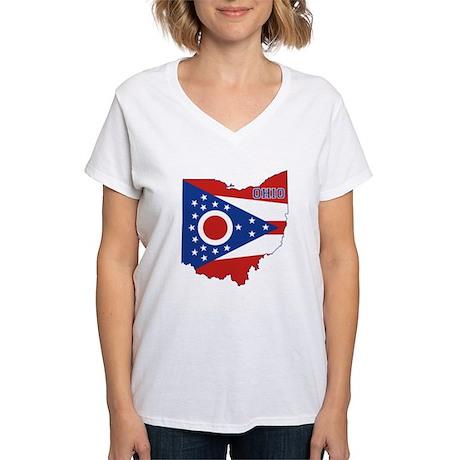 Ohio Flag Women's V-Neck T-Shirt