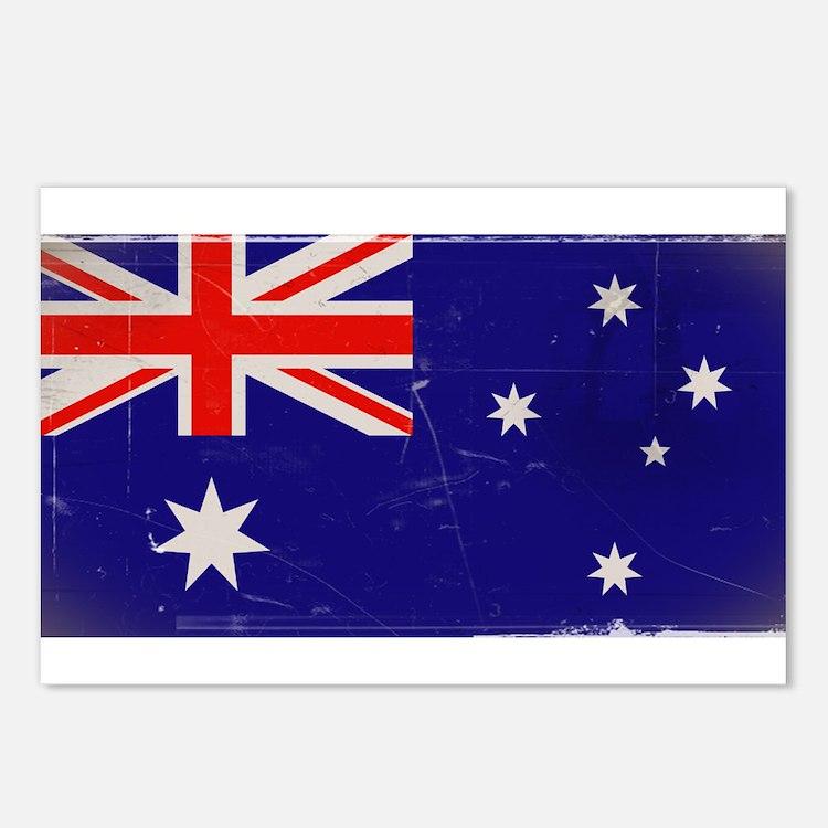 antiqued Australian flag Postcards (Package of 8)