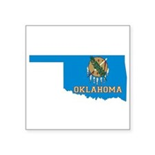 "Oklahoma Flag Square Sticker 3"" x 3"""