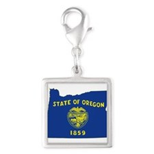 Oregon Flag Silver Square Charm
