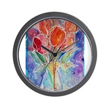 Tulips! Colorful, floral art! Wall Clock
