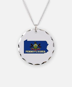 Pennsylvania Flag Necklace Circle Charm