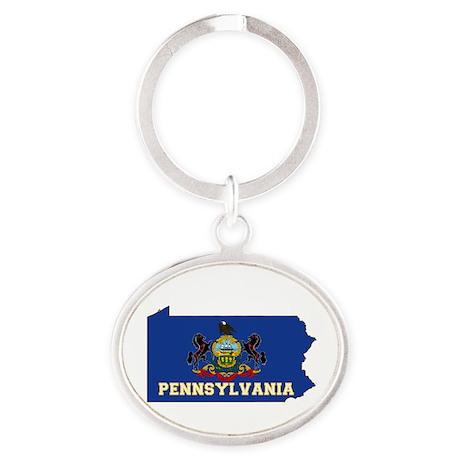 Pennsylvania Flag Oval Keychain
