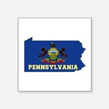 "Pennsylvania Flag Square Sticker 3"" x 3"""