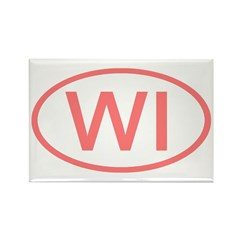 WI Oval - Wisconsin Rectangle Magnet (10 pack)