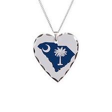 South Carolina Flag Necklace Heart Charm