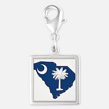 South Carolina Flag Silver Square Charm