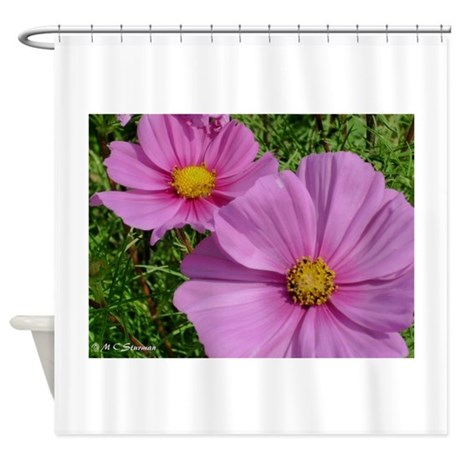 cosmos bright floral photo shower curtain by meowries