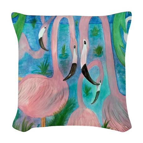 Flamingo Party Woven Throw Pillow