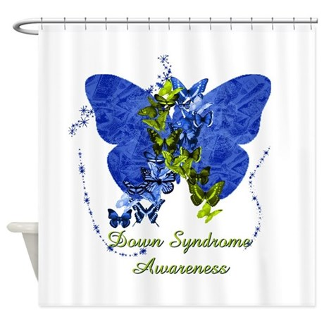 Down Syndrome Awareness Butterfly Shower Curtain By