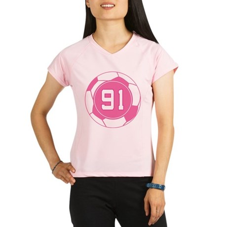Soccer Number 91 Custom Player Performance Dry T-S