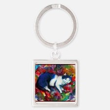 Cat! Colorful, pet, art! Keychains