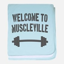 Welcome to Muscleville baby blanket