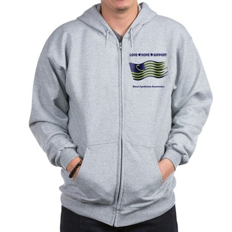 Down Syndrome Support Ribbon - Flag Zip Hoodie
