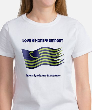 Down Syndrome Support Ribbon - Flag T-Shirt