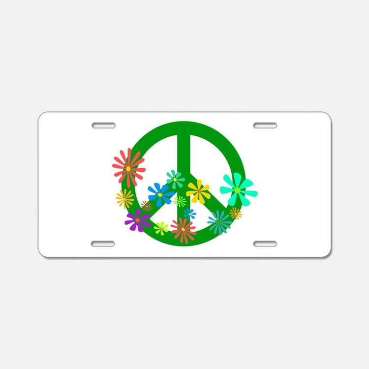 Blooming Peace Sign Aluminum License Plate