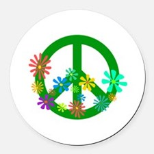 Blooming Peace Sign Round Car Magnet
