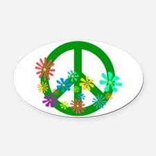 Blooming Peace Sign Oval Car Magnet