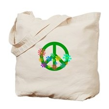 Blooming Peace Sign Tote Bag