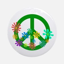 Blooming Peace Sign Ornament (Round)