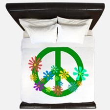 Blooming Peace Sign King Duvet