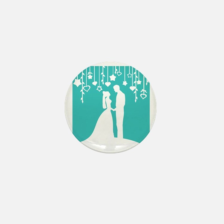 Bride and Groom silhouettes Mini Button (10 pack)