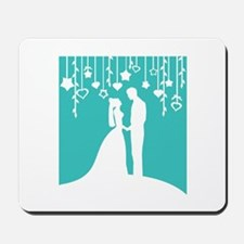 Bride and Groom silhouettes Mousepad