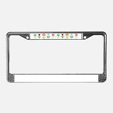 Retro folk floral line License Plate Frame