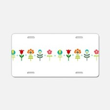 Retro folk floral line Aluminum License Plate
