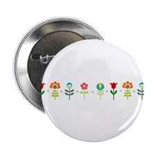"Retro folk floral line 2.25"" Button"