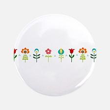 "Retro folk floral line 3.5"" Button"