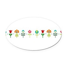 Retro folk floral line Oval Car Magnet