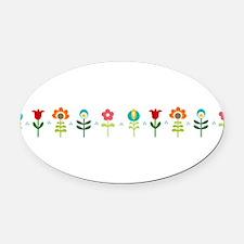 Retro folk floral line Oval Car Magnet