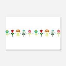 Retro folk floral line Car Magnet 20 x 12