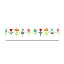 Retro folk floral line Car Magnet 10 x 3