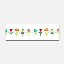 Retro folk floral line Car Magnet 10 x 3