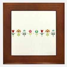 Retro folk floral line Framed Tile