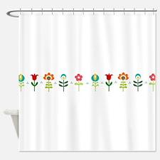 Retro folk floral line Shower Curtain