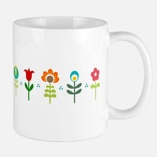 Retro folk floral line Small Mug