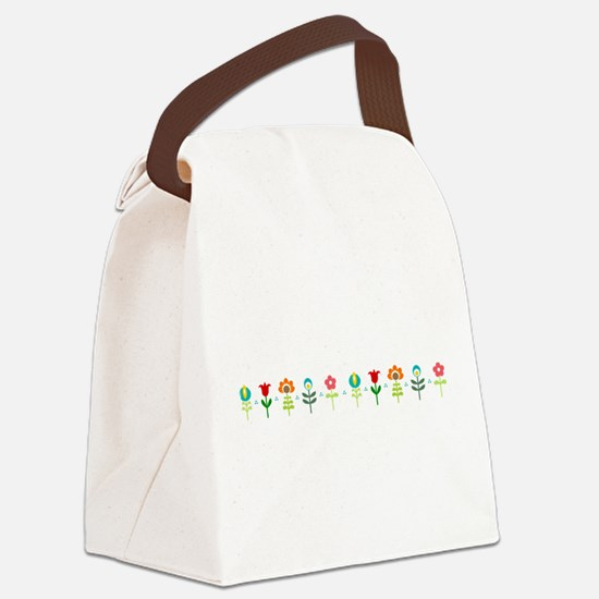 Retro folk floral line Canvas Lunch Bag