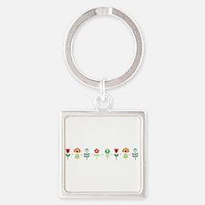 Retro folk floral line Keychains