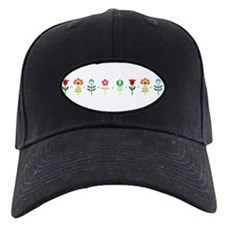 Retro folk floral line Baseball Cap