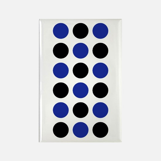Black Blue Spot Designer Rectangle Magnet