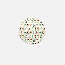 Retro folk floral pattern Mini Button