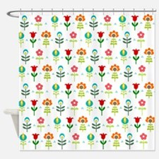 Retro folk floral pattern Shower Curtain